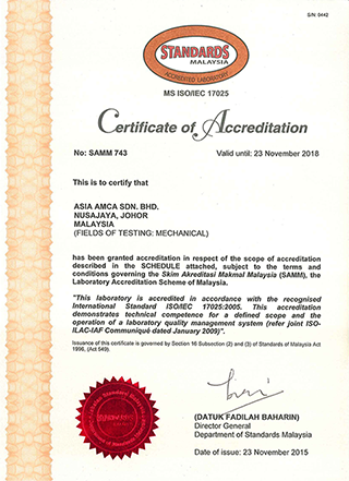 Certification of Accreditation: MS ISO/IEC 17025:2005